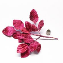 Vintage Fuchsia Pink Velvet Rose Leaves